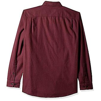 Essentials Herre's Regular-Fit Langermet Solid Flanell Skjorte, Burgundy Heather, X-Large