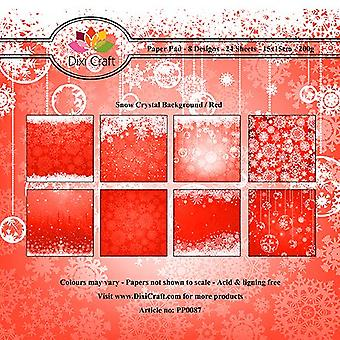 Dixi Craft 6x6 tommer papirpakke sne krystal baggrund rød