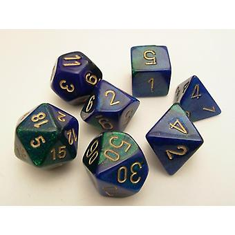 Chessex Gemini Polydice Set - Blue/Green/Gold