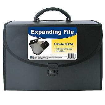 58320, 21-Pocket Legal Size Expanding File with Handle, Black, 1/EA, 58320