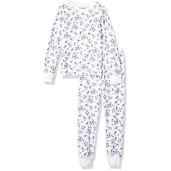 Essentials Girls' Big Thermal Long Underwear Set, White Floral, Large