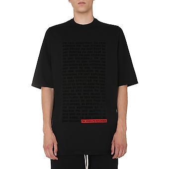 Rick Owens Drkshdw Du20f1274rnep10909 Men's Black Cotton T-shirt