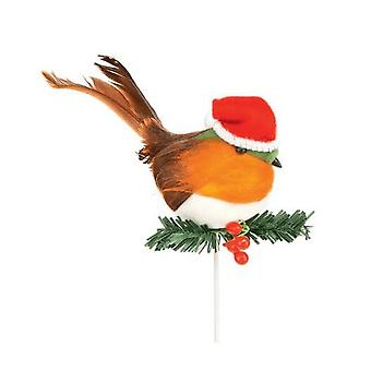 Premier Robin With Santa Hat Pick Christmas Decoration