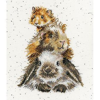 Wrendale Designs Piggy in the Middle (XHD65) Cross Stitch Kit by Bothy Threads