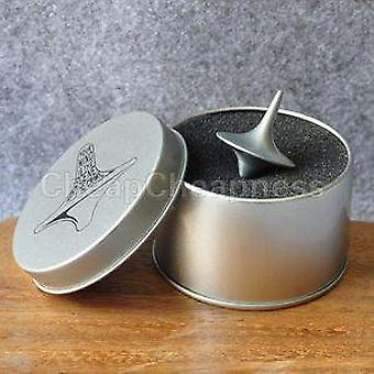 Zink legering zilver spinning top van inception totem kinderen speelgoed met retail metal box kerstcadeau (zilver)