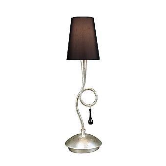 Bordlampe 1 Light E14, Sølvmalet med sort skygge og sorte glasdråber
