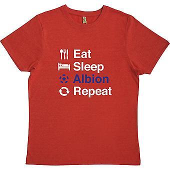 Comer Sleep Albion Repetir Vermelho 100% Reciclou Camiseta