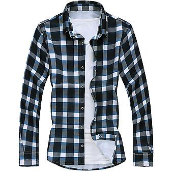 YANGFAN Men's Gola Pontiaguda Camisa xadrez de manga comprida