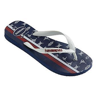 Havaianas Top Nautical Flip Flops - Navy Blue / White / Apache Red