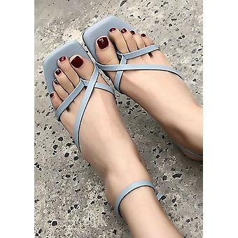 Faux Leather Square Toe Strappy Heel Sandals Blue