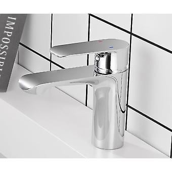 Grifo de lavabo de mango individual en el baño, grifo mezclador de agua fría y caliente