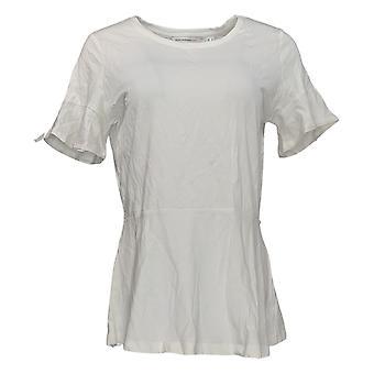 إسحاق مزراحي لايف! Women's Top Peplum w/ Short Ruffle Sleeve White A303170