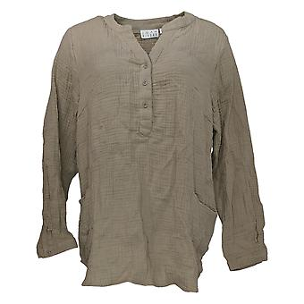 Joan Rivers Classics Collection Women's Top V Neck W/ Pockets Beige A304205