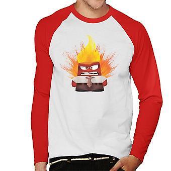 Pixar Inside Out Anger Exploding Men's Baseball Long Sleeved T-Shirt