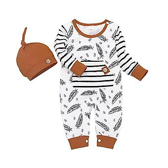 Winter Autumn Newborn Baby Feather Rompers Tops Striped Pants Clothes Outfits
