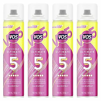 VO5 Invisible Ultimate Hold 24H Weatherproof Hair spray 400ml, 4 Pack