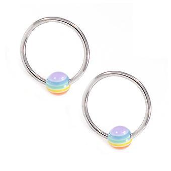 Pair of captive bead with gay pride rainbow bead 18g