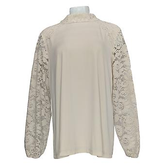 Susan Graver Women's Top Liquid Knit W/ Lace Sleeves Ivory A370877