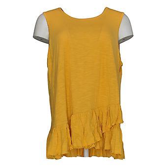 DG2 by Diane Gilman Women's Top XL Yellow Tank Cotton Sleeveless 725-087