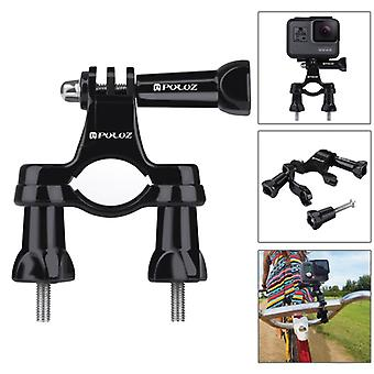 PULUZ 24 in 1 Bike Mount Accessories Combo Kits (Wrist Strap + Helmet Strap + Extension Arm + Quick Release Buckles + Surface Mounts + Adhesive Sticke