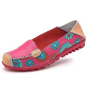נשים קז'ואל נעליים שטוחות נשים עור אמיתי ללא שרוכים רך נוח