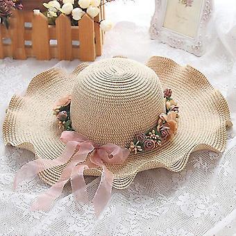 Szülő-gyermek Sun Hat Big Wide Brim Beach Hat Kézzel készített virágos szalma sapka nők