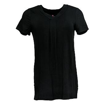 Laurie Felt Women's Top XXS Short Sleeve Bamboo Blend V-Neck Black A301668