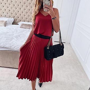 Sexy Mujeres Verano Correa V-cuello rosa Plited Midi Vestido
