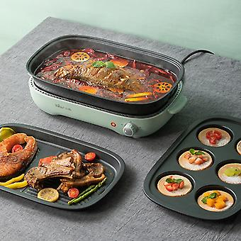 220V Electric Hot Pot Cooker Household Multifunctional Electric Hotpot Cake Baker Furnace Barbecue Grill With 3 Plates