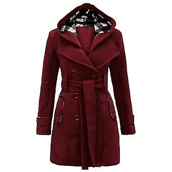 Talvi Double Breasted lämmin keskipitkä tuulenmurtaja vyö muoti vaatteet