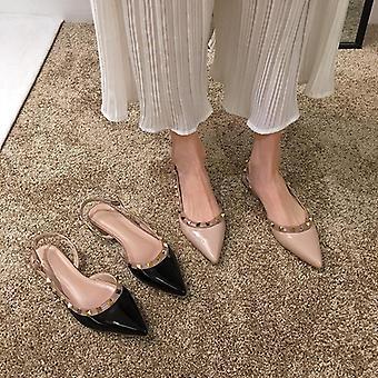 Damen Nieten Sandalen, RückenGurt & pointy Toe Sandalen für Kleid Büroschuhe