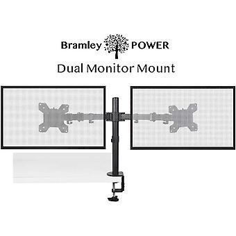 "Bramley Power Dual Monitor Screen Desk Mount Arm Double VESA Bracket for 13"" to 30"" Computer Display"