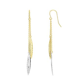 14K Yellow And White Gold Marquise Shaped Disc Double Strand Drop Earrings