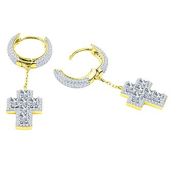 925 Sterling Hopea Bling Zirconia korvakorut - CROSS KREOLES