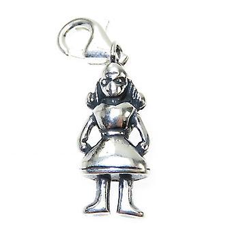 Meisje 2d Sterling Zilveren Charme op Clip .925 X 1 Meisjes Vrouwelijke Charms - 6797