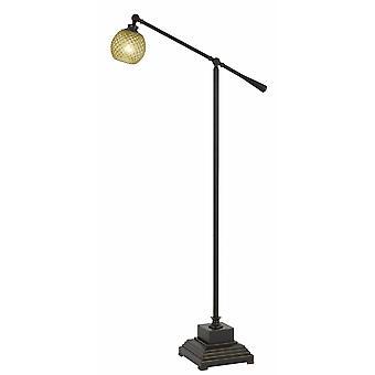 Lampe de plancher de corps en métal avec le bras réglable et l'ombre texturée de verre, noir