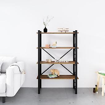 Librería Star Black, Madera metálica, Chipboard de melamina, L90xP35xA150 cm, L82xP29xA34.5 cm
