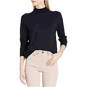 Brand - Daily Ritual Women's Fine Gauge Stretch Mockneck Pullover Sweater, Navy , Large