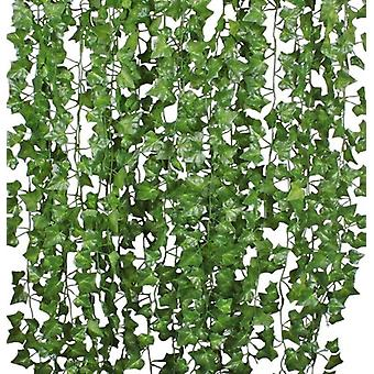 12/24 Strands Artificial Ivy Leaf Plants Vine , For Home Kitchen Garden Office Wedding Wall Decor, 84 Feet