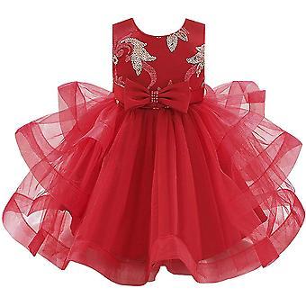 Baby Meisje Formele Doop Prinses Jurk 1131-rood