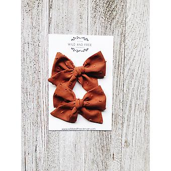 Cinnamon Pigtail Bow Sets