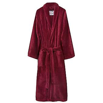 Bown of London Baroness Plain Velour Dressing Gown - Burgundy