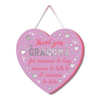 WPL More Than Words Thank You Grandma Heart Hanging Plaque