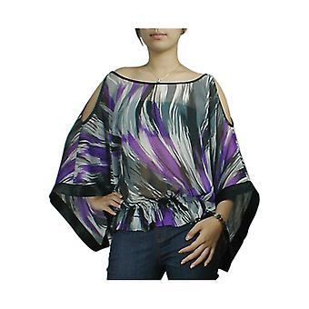 Tyylikäs tähti off-shoulder kimono sifonki top violetti