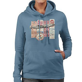 Pan Am Baggage Tags Montage Women's Hooded Sweatshirt