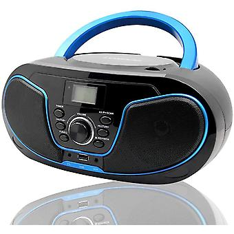 HanFei Tragbare CD-Player Boombox mit Bluetooth, UKW-Radio & USB Eingang & AUX, 2 x 2Watt RMS