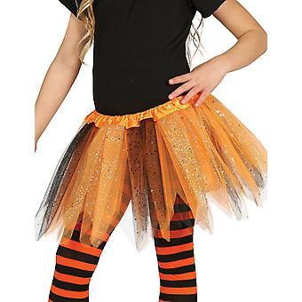 Twee-tone zwarte en oranje pailletten meisje tutu