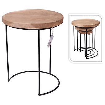 المنزل والتصميم 3 أجهزة الكمبيوتر الشخصية. طاولة جانبية تعيين خشب الساج والمعادن