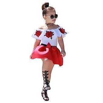 Ärmellose Off-Schulter-Stickerei Rose Tops & Röcke für Baby-Mädchen