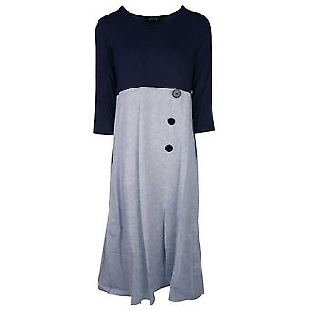 Latte Blue 3/4 Sleeve Long Dress With Fine Pin Stripe Skirt & Button Detail